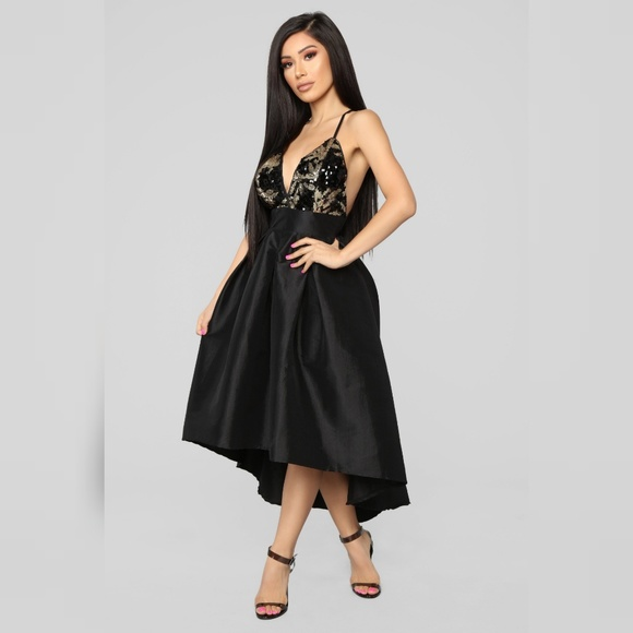 a8e07b8f72 Black Gold Sequins Spaghetti Strap High Low Dress